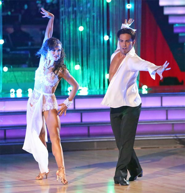 "<div class=""meta ""><span class=""caption-text "">Olympic speed skater Apolo Anton Ohno and his partner Karina Smirnoff received 30 out of 30 points from the judges for their Rumba on 'Dancing With The Stars: All-Stars' on Monday Nov. 19, 2012. (ABC Photo / Adam Taylor)</span></div>"