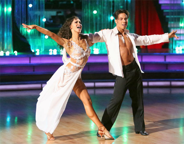 "<div class=""meta image-caption""><div class=""origin-logo origin-image ""><span></span></div><span class=""caption-text"">Olympic speed skater Apolo Anton Ohno and his partner Karina Smirnoff received 30 out of 30 points from the judges for their Rumba on 'Dancing With The Stars: All-Stars' on Monday Nov. 19, 2012. (ABC Photo / Adam Taylor)</span></div>"