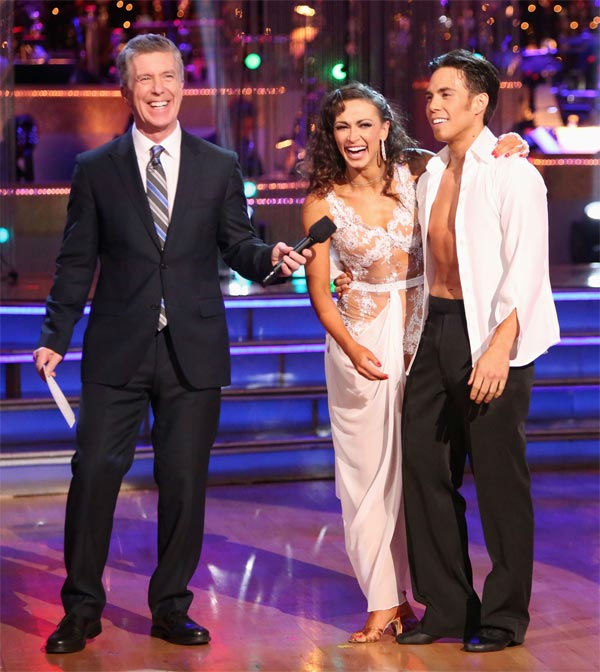 Olympic speed skater Apolo Anton Ohno and his partner Karina Smirnoff received 30 out of 30 points from the judges for their Rumba on 'Dancing With The Stars: All-Stars' on Monday Nov. 19, 2012.