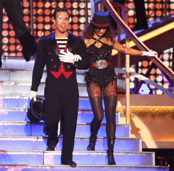 "<div class=""meta ""><span class=""caption-text "">Olympic speed skater Apolo Anton Ohno and his partner Karina Smirnoff on 'Dancing With The Stars: All-Stars' on Monday Nov. 19, 2012. (ABC Photo/ Adam Taylor)</span></div>"