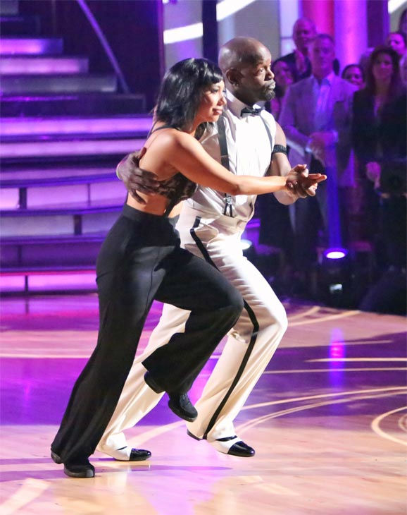 Retired NFL star Emmitt Smith and his partner Cheryl Burke received 27 out of 30 points from the judges for their 'Espionage' Lindy Hop on 'Dancing With The Stars: All-Stars' on Monday, Nov. 19, 2012.