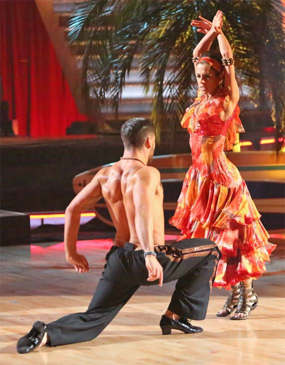 &#39;General Hospital&#39; actress Kelly Monaco and her partner Valentin Chmerkovskiy received 25.5 out of 30 points from the judges for their &#39;Surfer&#39; Flamenco on &#39;Dancing With The Stars: All-Stars&#39; on Monday, Nov. 19, 2012. <span class=meta>(ABC Photo &#47; Adam Taylor)</span>