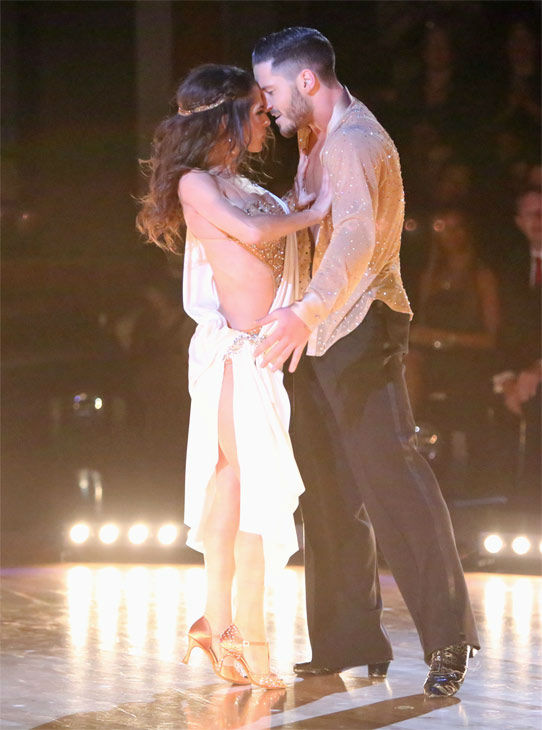"<div class=""meta ""><span class=""caption-text "">'General Hospital' actress Kelly Monaco and her partner Valentin Chmerkovskiy received 28.5 out of 30 points from the judges for their Rumba on 'Dancing With The Stars: All-Stars' on Monday, Nov. 19, 2012. (ABC Photo / Adam Taylor)</span></div>"