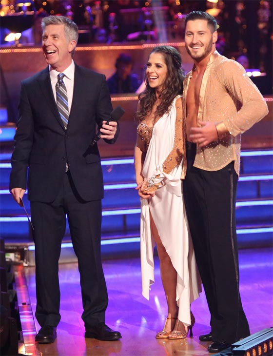 &#39;General Hospital&#39; actress Kelly Monaco and her partner Valentin Chmerkovskiy received 28.5 out of 30 points from the judges for their Rumba on &#39;Dancing With The Stars: All-Stars&#39; on Monday, Nov. 19, 2012. <span class=meta>(ABC Photo &#47; Adam Taylor)</span>