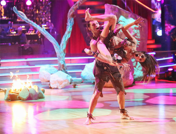 "<div class=""meta image-caption""><div class=""origin-logo origin-image ""><span></span></div><span class=""caption-text"">Reality star Melissa Rycroft and her partner Tony Dovolani received 27.5 out of 30 points from the judges for their 'Caveman' Hustle on 'Dancing With The Stars: All-Stars' on Monday, Nov. 19, 2012. (ABC Photo / Adam Taylor)</span></div>"