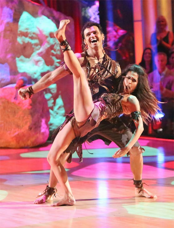 Reality star Melissa Rycroft and her partner Tony Dovolani received 27.5 out of 30 points from the judges for their &#39;Caveman&#39; Hustle on &#39;Dancing With The Stars: All-Stars&#39; on Monday, Nov. 19, 2012. <span class=meta>(ABC Photo &#47; Adam Taylor)</span>