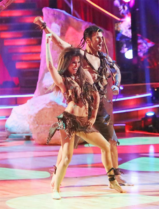 "<div class=""meta ""><span class=""caption-text "">Reality star Melissa Rycroft and her partner Tony Dovolani received 27.5 out of 30 points from the judges for their 'Caveman' Hustle on 'Dancing With The Stars: All-Stars' on Monday, Nov. 19, 2012. (ABC Photo / Adam Taylor)</span></div>"