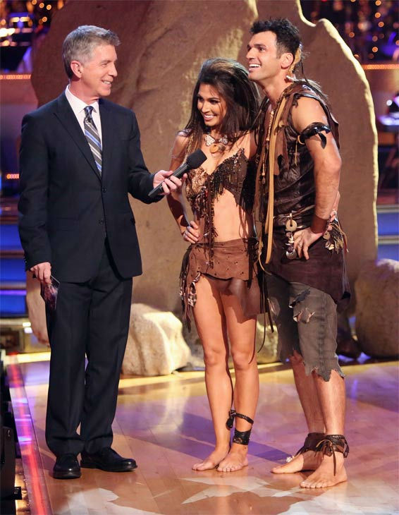 Reality star Melissa Rycroft and her partner Tony Dovolani received 27.5 out of 30 points from the judges for their 'Caveman' Hustle on 'Dancing With The Stars: All-Stars' on Monday, Nov. 19, 2012.