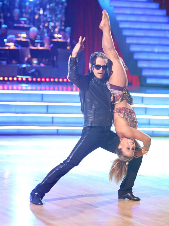 "<div class=""meta ""><span class=""caption-text "">Olympic gymnast Shawn Johnson and her partner Derek Hough received 30 out of 30 points from the judges for their 'Knight Rider' Bhanga on 'Dancing With The Stars: All-Stars' on Monday, Nov. 19, 2012. (ABC Photo / Adam Taylor)</span></div>"