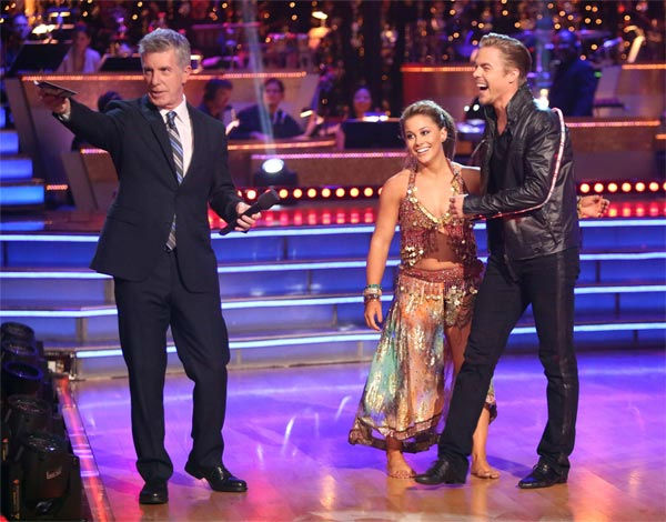 "<div class=""meta image-caption""><div class=""origin-logo origin-image ""><span></span></div><span class=""caption-text"">Olympic gymnast Shawn Johnson and her partner Derek Hough received 30 out of 30 points from the judges for their 'Knight Rider' Bhanga on 'Dancing With The Stars: All-Stars' on Monday, Nov. 19, 2012. (ABC Photo / Adam Taylor)</span></div>"
