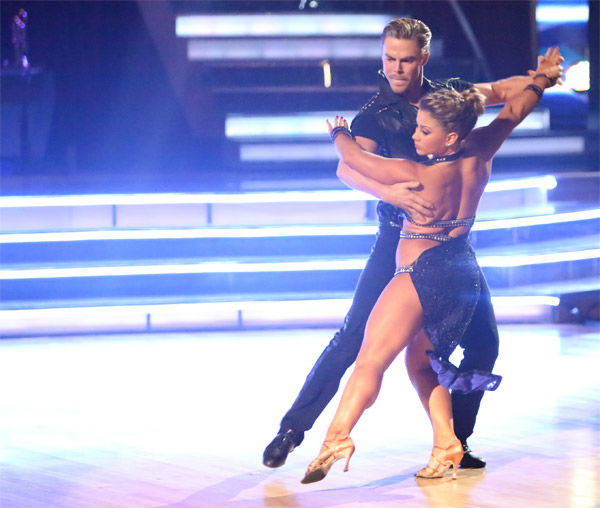 Olympic gymnast Shawn Johnson and her partner Derek Hough received 29 out of 30 points from the judges for their Argentine Tango on 'Dancing With The Stars: All-Stars' on Monday, Nov. 19, 2012.