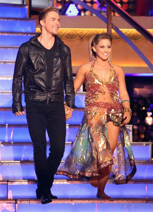 "<div class=""meta ""><span class=""caption-text "">Olympic gymnast Shawn Johnson and her partner Derek Hough on 'Dancing With The Stars: All-Stars' on Monday, Nov. 19, 2012. (ABC Photo / Adam Taylor)</span></div>"