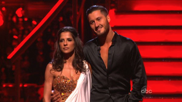Kelly Monaco and Valentin Chmerkovskiy await their fate on &#39;Dancing With The Stars: The Results Show&#39; on November 20, 2012. The pair received 25.5 out of 30 points from the judges for their &#39;Surfer&#39; Flamenco and 28.5 out of 30 points for their Rumba. <span class=meta>(ABC Photo)</span>
