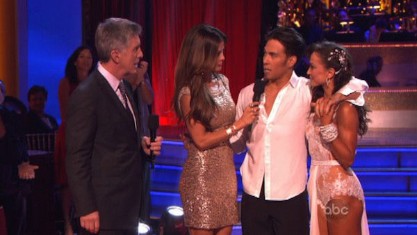 Apolo Anton Ohno and Karina Smirnoff react to being eliminated on &#39;Dancing With The Stars: The Results Show&#39; on November 20, 2012. The pair received 27 out of 30 points from the judges for their &#39;Big Top&#39; Jazz and 30 out of 30 points for their Rumba. <span class=meta>(ABC Photo)</span>