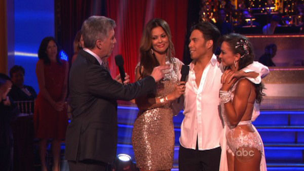 "<div class=""meta ""><span class=""caption-text "">Apolo Anton Ohno and Karina Smirnoff react to being eliminated on 'Dancing With The Stars: The Results Show' on November 20, 2012. The pair received 27 out of 30 points from the judges for their 'Big Top' Jazz and 30 out of 30 points for their Rumba. (ABC Photo)</span></div>"