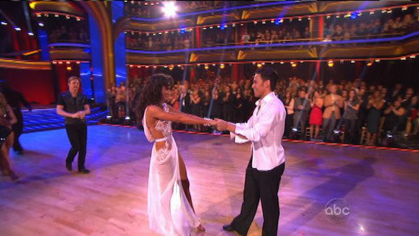 Apolo Anton Ohno and Karina Smirnoff appear in a still from 'Dancing With The Stars: All-Stars' on November 20, 2012.