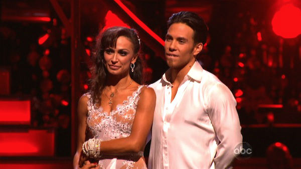 Apolo Anton Ohno and Karina Smirnoff await their fate on &#39;Dancing With The Stars: The Results Show&#39; on November 20, 2012. The pair received 27 out of 30 points from the judges for their &#39;Big Top&#39; Jazz and 30 out of 30 points for their Rumba. <span class=meta>(ABC Photo)</span>