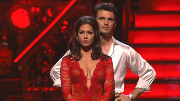 Melissa Rycroft and Tony Dovolani await their fate on &#39;Dancing With The Stars: The Results Show&#39; on November 20, 2012. The pair received 27.5 out of 30 points from the judges for their &#39;Caveman&#39; Hustle and 30 out of 30 points for their Argentine Tango. <span class=meta>(ABC Photo)</span>