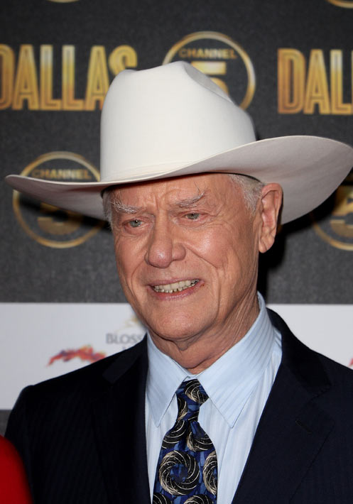 Larry Hagman is seen at a photocall ahead of the...