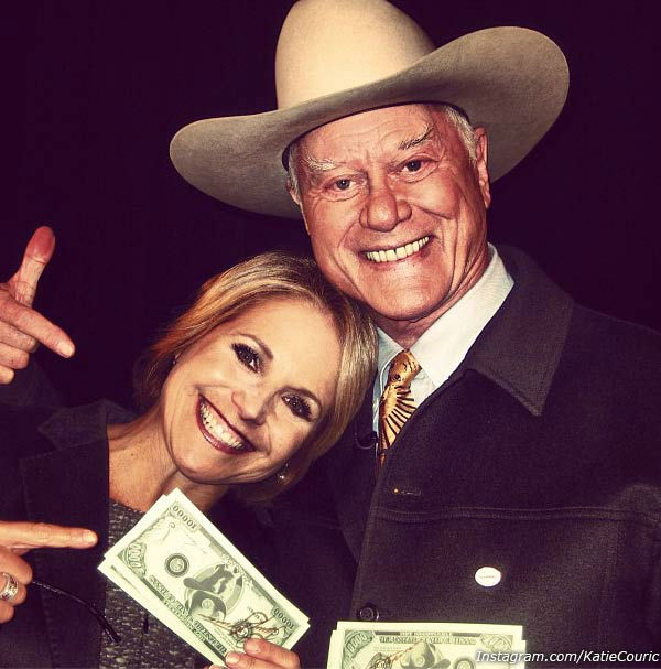 Katie Couric appears with Larry Hagman in an...