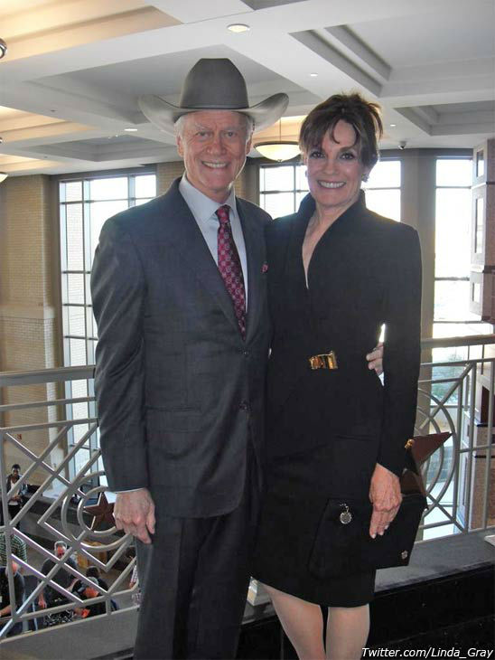 Linda Gray and Larry Hagman in a photo posted by Gray on her official Twitter page on November 9, 2012.)
