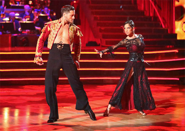 "<div class=""meta ""><span class=""caption-text "">'General Hospital' actress Kelly Monaco and her partner Valentin Chmerkovskiy received 29.5 out of 30 points from the judges for their Paso Doble on 'Dancing With The Stars: All-Stars' on Monday, Nov. 26, 2012. (ABC Photo / Adam Taylor)</span></div>"