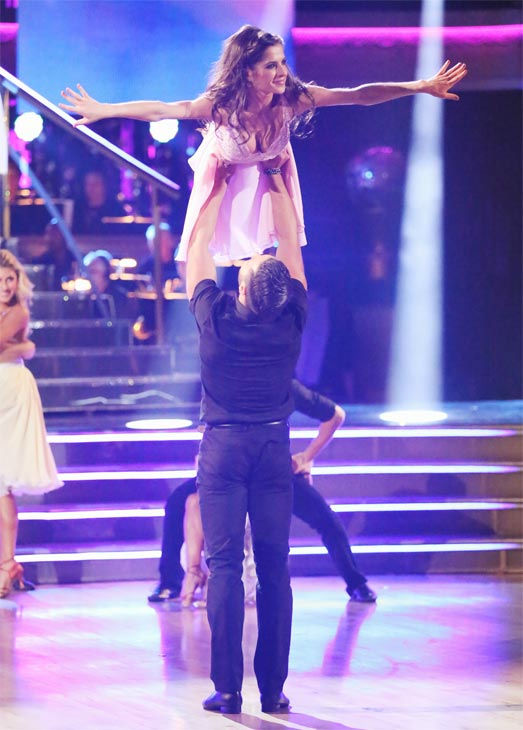 "<div class=""meta ""><span class=""caption-text "">'General Hospital' actress Kelly Monaco and her partner Valentin Chmerkovskiy received 29.5 out of 30 points from the judges for their Freestyle on 'Dancing With The Stars: All-Stars' on Monday, Nov. 26, 2012. (ABC Photo / Adam Taylor)</span></div>"