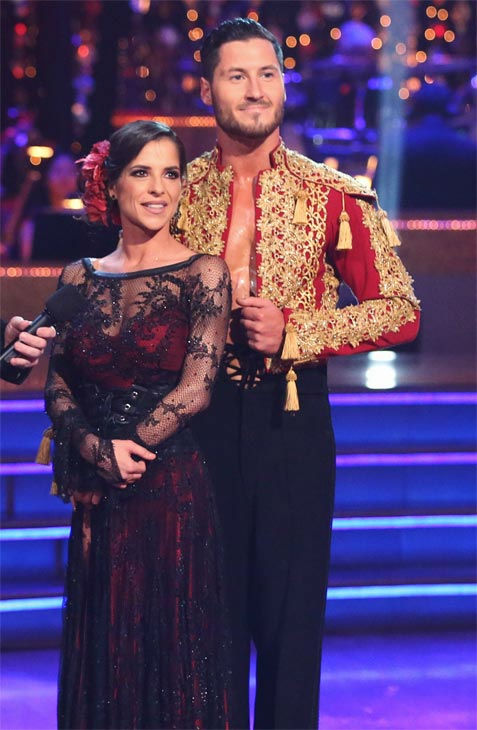 'General Hospital' actress Kelly Monaco and her partner Valentin Chmerkovskiy received 29.5 out of 30 points from the judges for their Paso Doble on 'Dancing With The Stars: All-Stars' on Monday, Nov. 26, 2012.