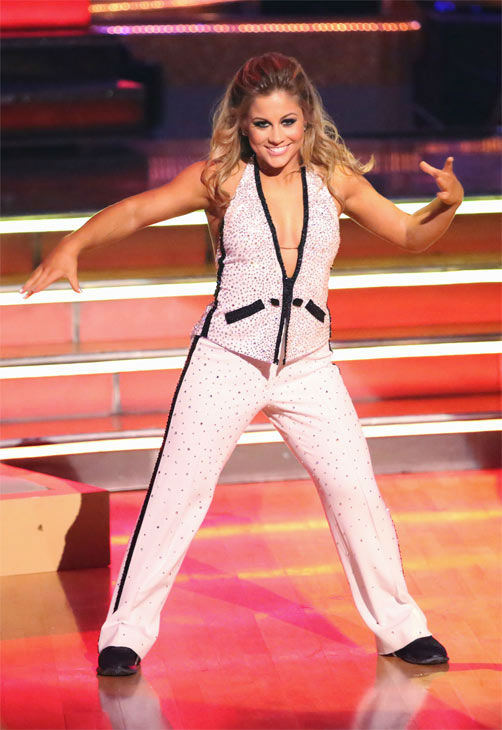 Olympic gymnast Shawn Johnson and her partner Derek Hough received 27 out of 30 points from the judges for their Quickstep on 'Dancing With The Stars: All-Stars' on Monday, Nov. 26, 2012.