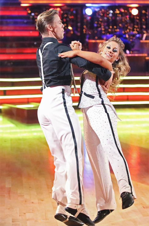 Olympic gymnast Shawn Johnson and her partner Derek Hough received 27 out of 30 points from the judges for their Quickstep on &#39;Dancing With The Stars: All-Stars&#39; on Monday, Nov. 26, 2012. <span class=meta>(ABC Photo &#47; Adam Taylor)</span>