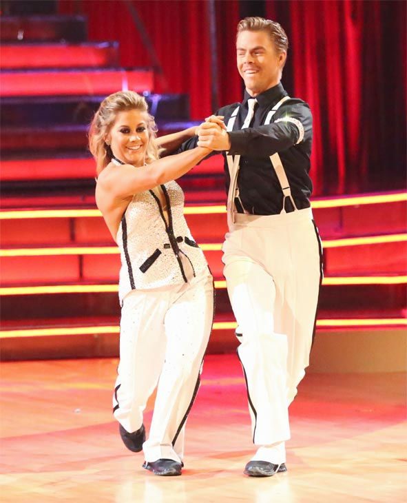 "<div class=""meta ""><span class=""caption-text "">Olympic gymnast Shawn Johnson and her partner Derek Hough received 27 out of 30 points from the judges for their Quickstep on 'Dancing With The Stars: All-Stars' on Monday, Nov. 26, 2012. (ABC Photo / Adam Taylor)</span></div>"