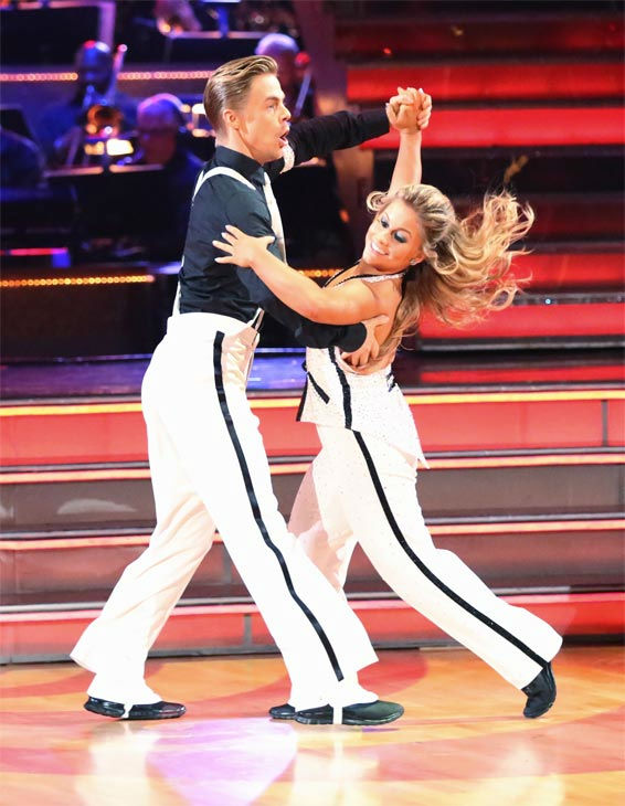 "<div class=""meta image-caption""><div class=""origin-logo origin-image ""><span></span></div><span class=""caption-text"">Olympic gymnast Shawn Johnson and her partner Derek Hough received 27 out of 30 points from the judges for their Quickstep on 'Dancing With The Stars: All-Stars' on Monday, Nov. 26, 2012. (ABC Photo / Adam Taylor)</span></div>"