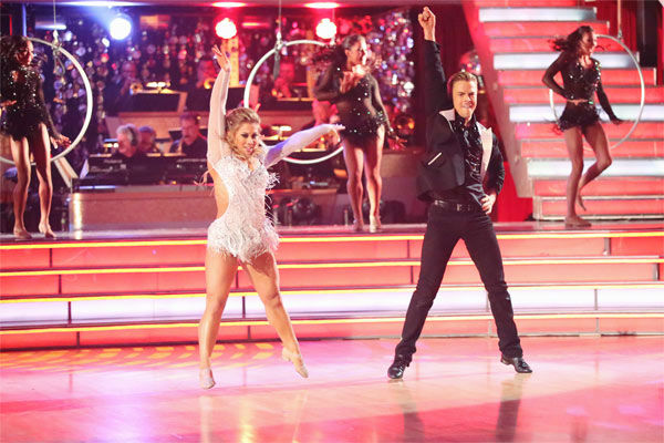 "<div class=""meta ""><span class=""caption-text "">Olympic gymnast Shawn Johnson and her partner Derek Hough received 30 out of 30 points from the judges for their Freestyle, which featured the 'Fierce Five,' on 'Dancing With The Stars: All-Stars' on Monday, Nov. 26, 2012. (ABC Photo / Adam Taylor)</span></div>"