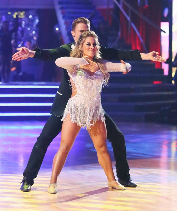 Olympic gymnast Shawn Johnson and her partner Derek Hough received 30 out of 30 points from the judges for their Freestyle on 'Dancing With The Stars: All-Stars' on Monday, Nov. 26, 2012.