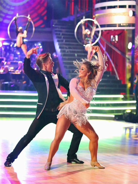"<div class=""meta image-caption""><div class=""origin-logo origin-image ""><span></span></div><span class=""caption-text"">Olympic gymnast Shawn Johnson and her partner Derek Hough received 30 out of 30 points from the judges for their Freestyle, which featured the 'Fierce Five,' on 'Dancing With The Stars: All-Stars' on Monday, Nov. 26, 2012. (ABC Photo / Adam Taylor)</span></div>"