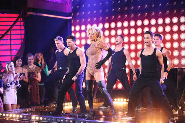 Former Playboy Playmate and 'Baywatch' alum Pamela Anderson and her partner Tristan MacManus returned to the ballroom for the 'Dancing With The Stars: All-Stars' finale on November 27, 2012.
