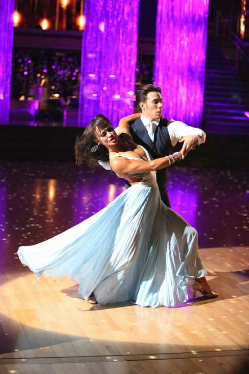 "<div class=""meta ""><span class=""caption-text "">Olympic speed skater Apolo Anton Ohno and his partner Karina Smirnoff returned to the ballroom for the 'Dancing With The Stars: All-Stars' finale on November 27, 2012. (ABC Photo/ Adam Taylor)</span></div>"
