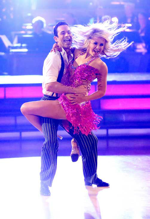 Brazilian auto racing driver Helio Castroneves and his partner Chelsie Hightower returned to the ballroom for the 'Dancing With The Stars: All-Stars' finale on November 27, 2012.