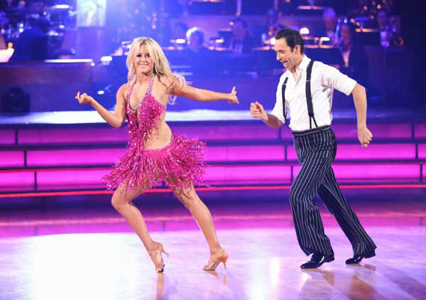 "<div class=""meta ""><span class=""caption-text "">Brazilian auto racing driver Helio Castroneves and his partner Chelsie Hightower returned to the ballroom for the 'Dancing With The Stars: All-Stars' finale on November 27, 2012. (ABC Photo/ Adam Taylor)</span></div>"