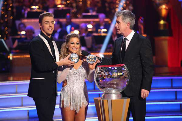 Olympic gymnast Shawn Johnson and her partner Derek Hough picked their 'Instant Dance' style and music on the 'Dancing With The Stars: All-Stars' finale on November 27, 2012.