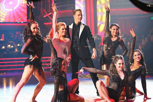 Olympic gymnast Shawn Johnson and her partner Derek Hough performed an encore of their freestyle dance on the 'Dancing With The Stars: All-Stars' finale on November 27, 2012.