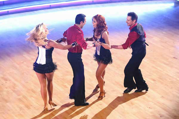 "<div class=""meta ""><span class=""caption-text "">The cast of season 15 returned to the ballroom for the 'Dancing With The Stars: All-Stars' finale on November 27, 2012. (Pictured: CHELSIE HIGHTOWER, HELIO CASTRONEVES, ANNA TREBUNSKAYA and DREW LACHEY.) (ABC Photo/ Adam Taylor)</span></div>"