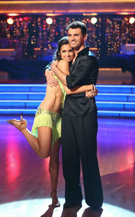 Melissa Rycroft and her partner Tony Dovolani await their fate on the 'Dancing With The Stars: All-Stars' finale on November 27, 2012.