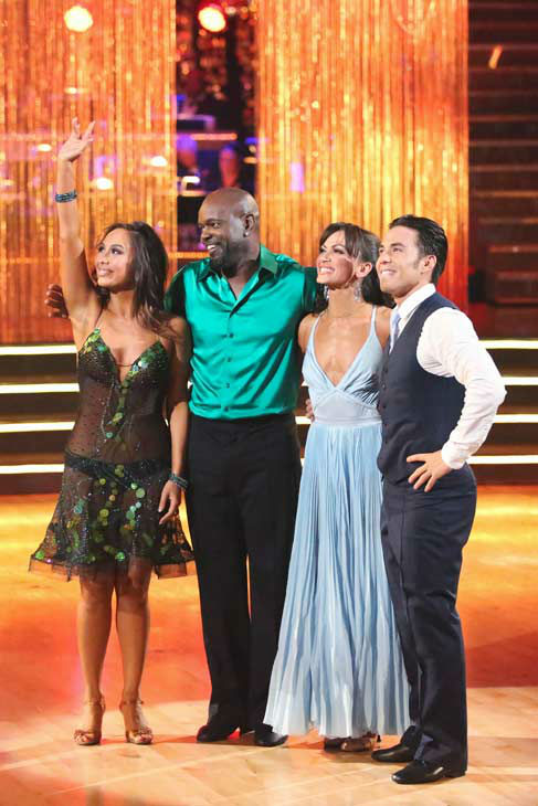 The cast of season 15 returned to the ballroom for the &#39;Dancing With The Stars: All-Stars&#39; finale on November 27, 2012. &#40;Pictured: CHERYL BURKE, EMMITT SMITH, KARINA SMIRNOFF and APOLO ANTON OHNO <span class=meta>(ABC Photo&#47; Adam Taylor)</span>