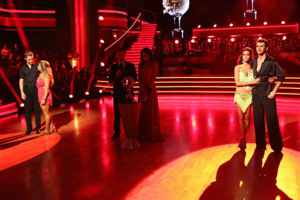"<div class=""meta ""><span class=""caption-text "">Shawn Johnson and her partner Derek Hough and Melissa Rycroft and her partner Tony Dovolani await their fate on the 'Dancing With The Stars: All-Stars' finale on November 27, 2012. (ABC Photo/ Adam Taylor)</span></div>"
