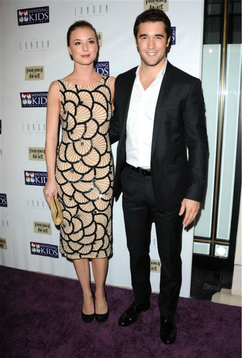 Emily VanCamp and &#39;Revenge&#39; co-star and real-life boyfriend Joshua Bowman appear at the Four Kings and an Ace Celebrity Charity Poker event in West Hollywood, California on Dec. 1, 2012. <span class=meta>(Sara De Boer &#47; Startraksphoto.com)</span>