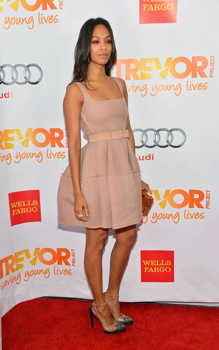 Zoe Saldana attends the Trevor Project's 'Trevor Live' in Los Angeles on Sunday, Dec. 2, 2012.