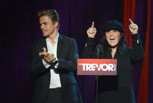 Derek Hough and Ricki Lake attend the Trevor...