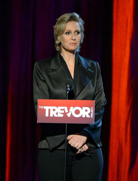 "<div class=""meta ""><span class=""caption-text "">Jane Lynch attends the Trevor Project's 'Trevor Live' in Los Angeles on Sunday, Dec. 2, 2012. (Getty Images for Trevor Project)</span></div>"