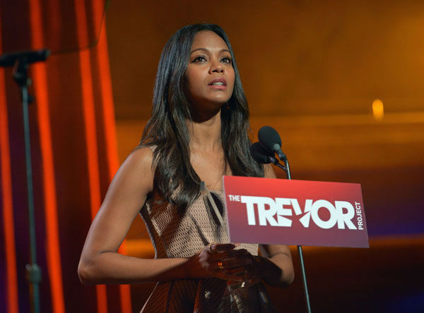 "<div class=""meta ""><span class=""caption-text "">Zoe Saldana attends the Trevor Project's 'Trevor Live' in Los Angeles on Sunday, Dec. 2, 2012. (Getty Images for Trevor Project)</span></div>"